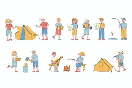 Campers Lineart People Character Sammlung