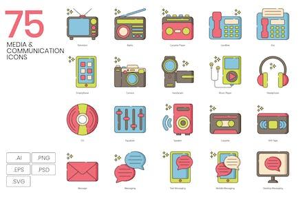 75 Kommunikations- und Medienlinien-Icons