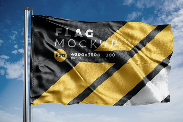 Thumbnail for Realistic Flag Mock-Up Template