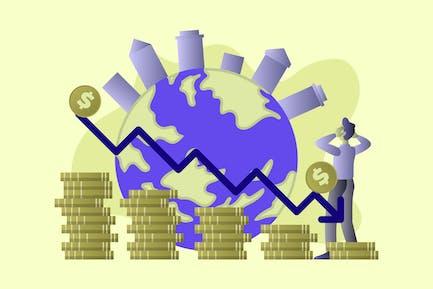 Global Economic Recession - Vector Illustration