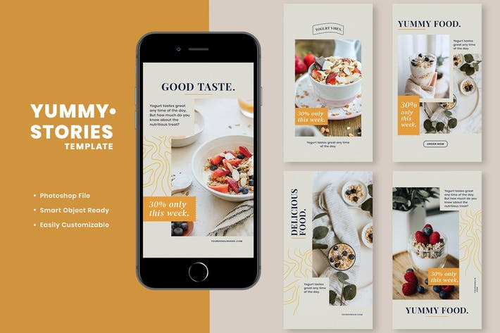 Thumbnail for Yummy Instagram Stories Template