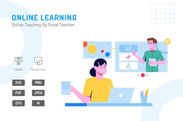 Online Teaching By Great Teacher Illustration