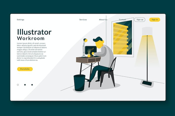 Thumbnail for Illustrator Working Room - Landing Page GR