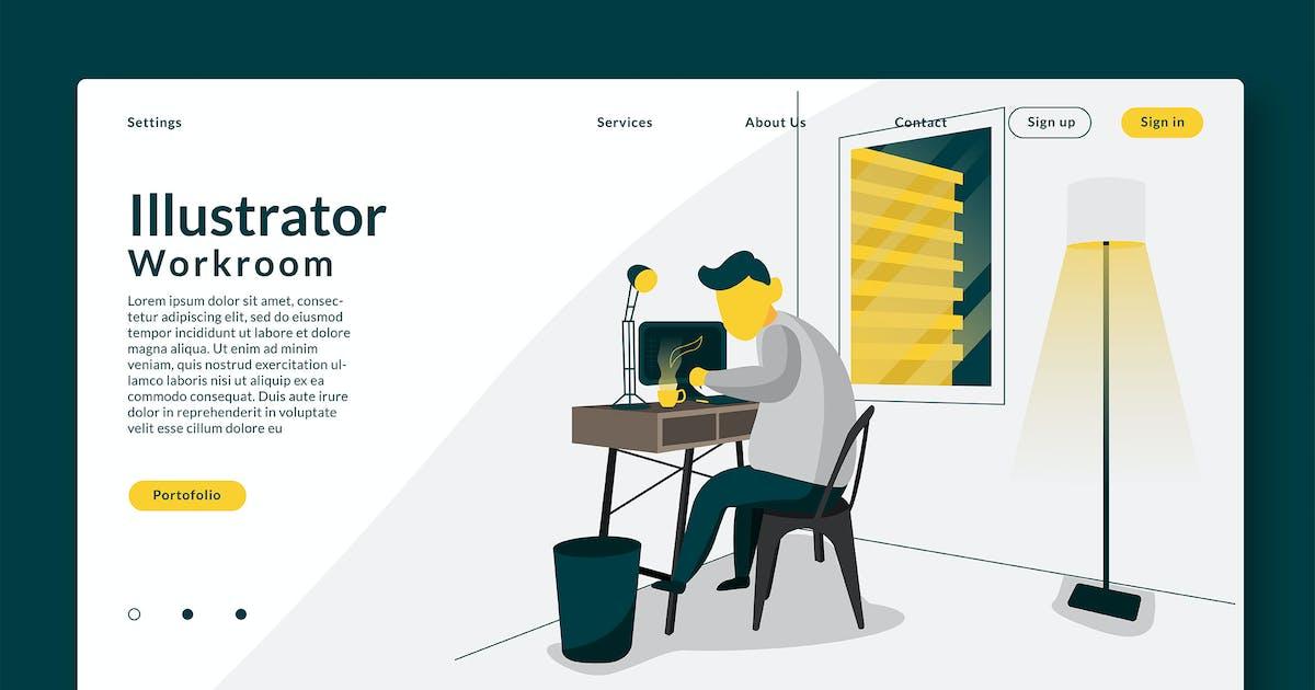 Download Illustrator Working Room - Landing Page GR by Rometheme