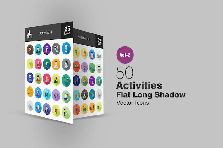 Thumbnail for 50 Aktivitäten Flache lange Schatten Icons