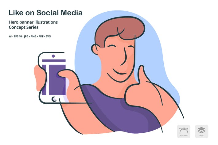Thumbnail for Like on Social Media Vector Illustration