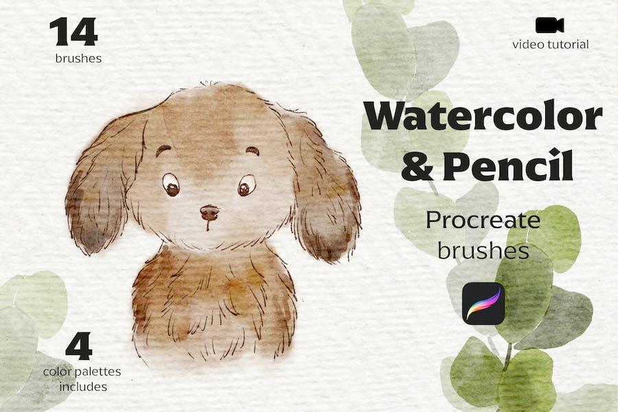 Watercolor&Pencil Procreate brushes
