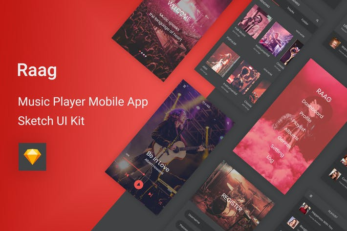 Thumbnail for Raag - Music Player UI Kit for Sketch