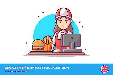 Girl Cashier With Fast Food Cartoon