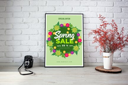 Soft Green Spring Poster mit rundem Blumenrahmen
