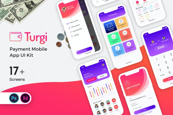 Cover Image For Turgi Payment Mobile App UI Kit
