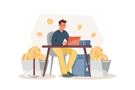 Proof of Work (POW) Illustration Concept