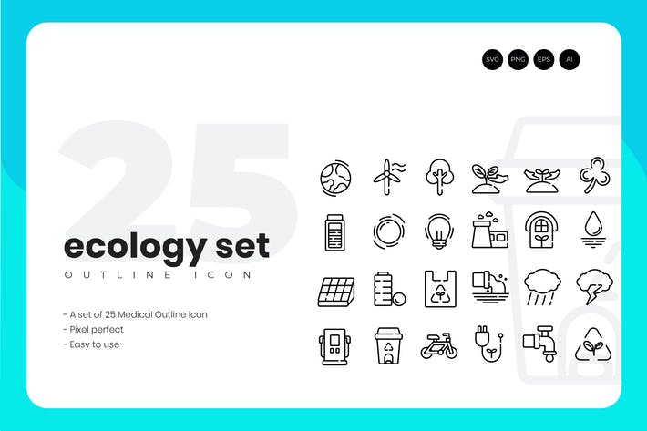 Thumbnail for 25 Ecology Outline Icon Set
