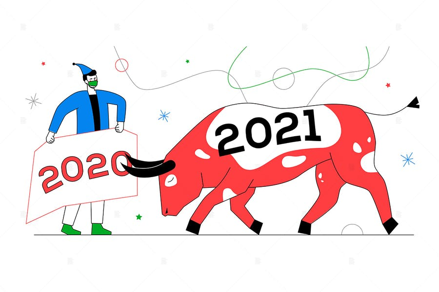 New Year 2021 - flat design style illustration