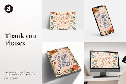 Danke Kalligraphie mit Handzeichnen Illustration