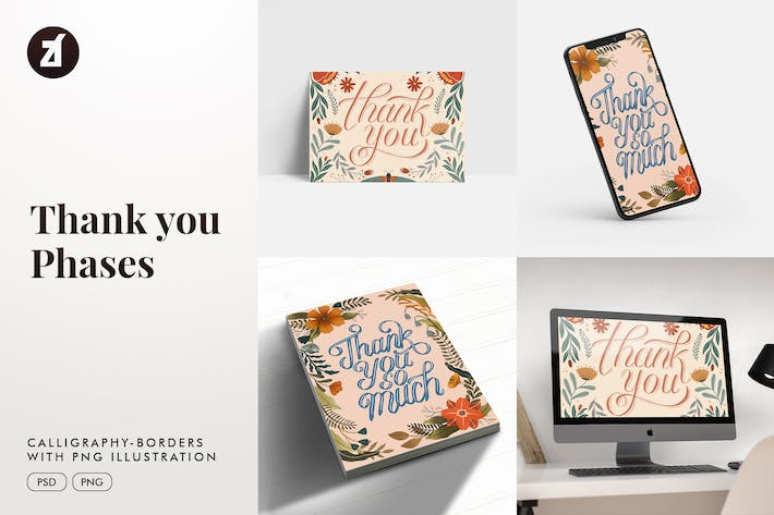 Thank you calligraphy with hand-draw illustration