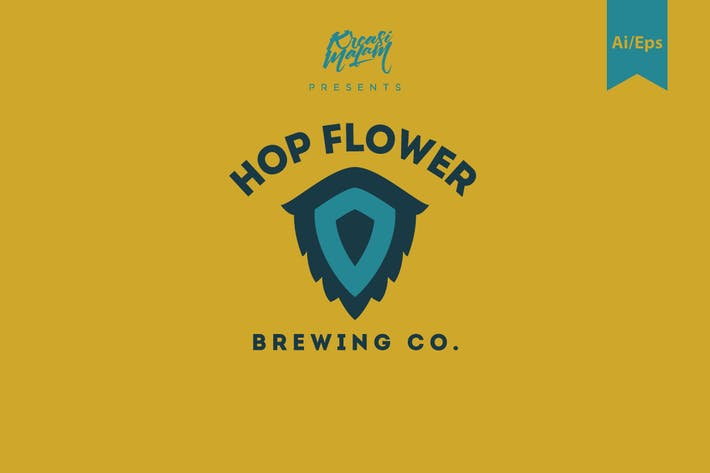 Cover Image For Hop Flower Logo Template