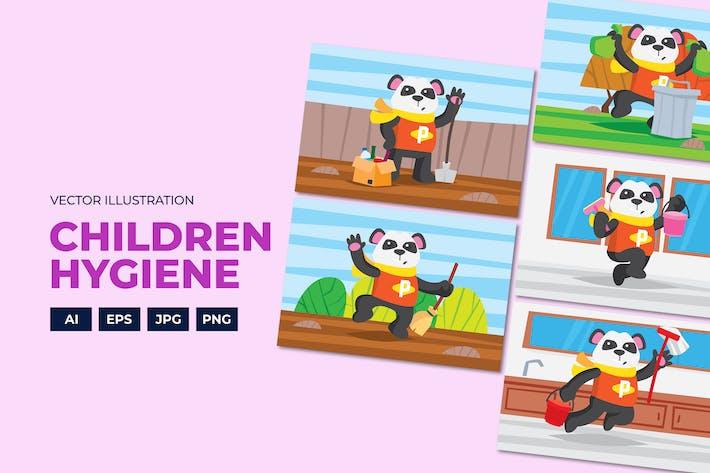 Thumbnail for Panda doing hygiene campaign vectors