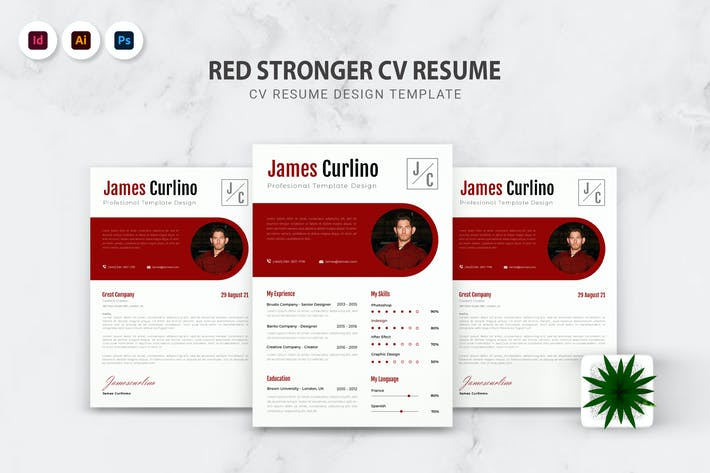 Thumbnail for Red Stronger CV Resume