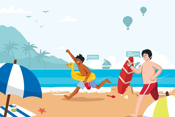 Thumbnail for Family Summer Holiday at Beach Illustration