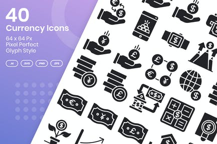 40 Currency Icons Set - Glyph