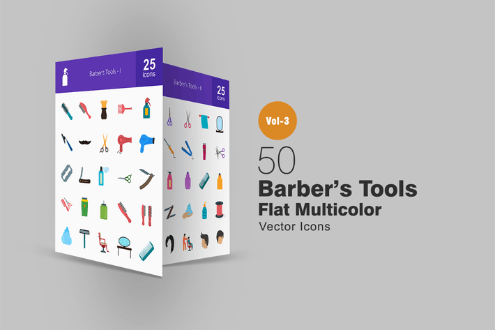 50 Barber's Tools Flat Multicolor Icons