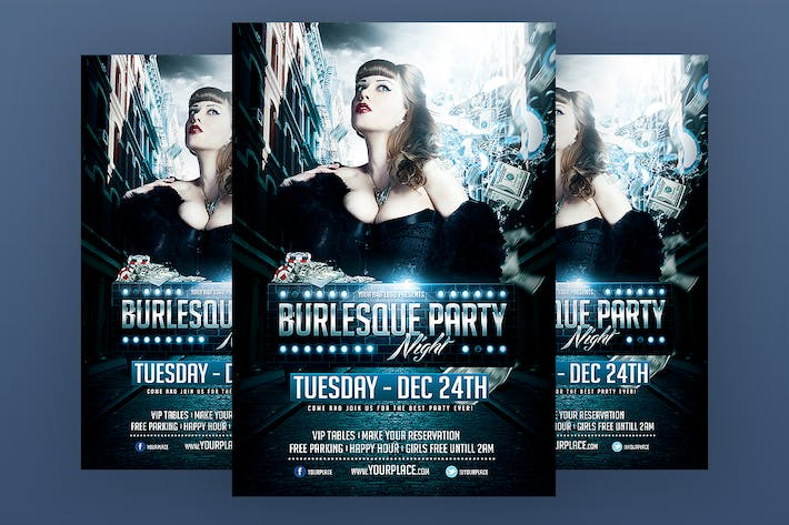 Thumbnail for Burlesque Party Flyer Template