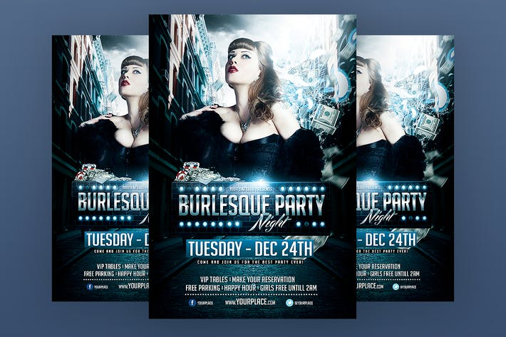 Burlesque Party Flyer Template by Odin_Design on Envato Elements