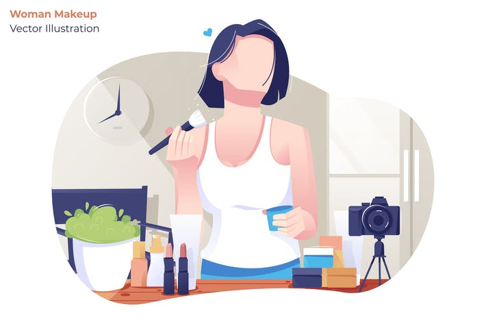 Thumbnail for Woman Makeup - Vector Illustration