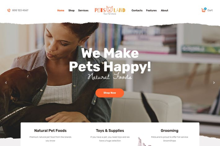 Thumbnail for Pets Land | Domestic Animals Shop & Veterinary WP