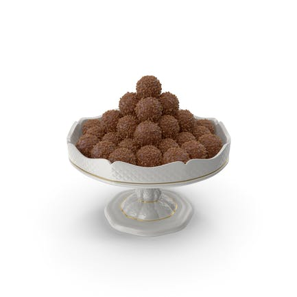 Fancy Porcelain Bowl with Chocolate Balls with Nuts