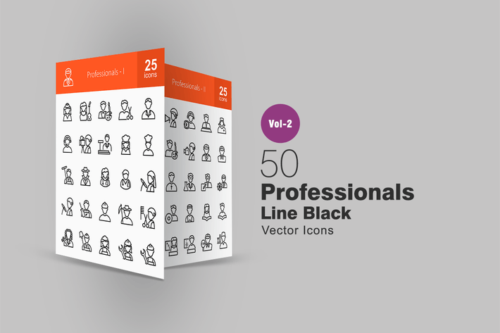 Thumbnail for 50 Professionals Line Icons