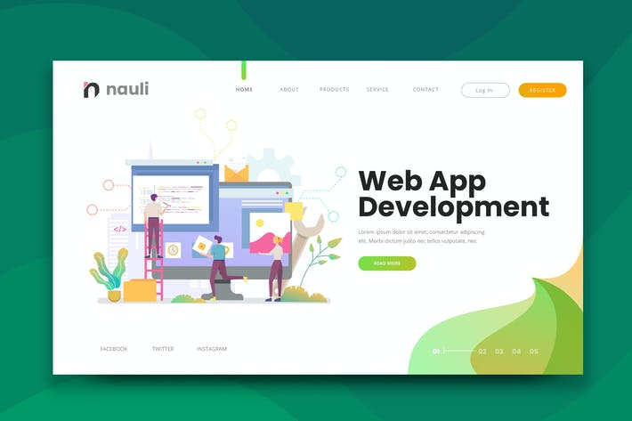 Thumbnail for Web App Development Web PSD and AI Vector Template