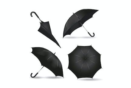 Realistische schwarze Regenschirm-Mock-ups