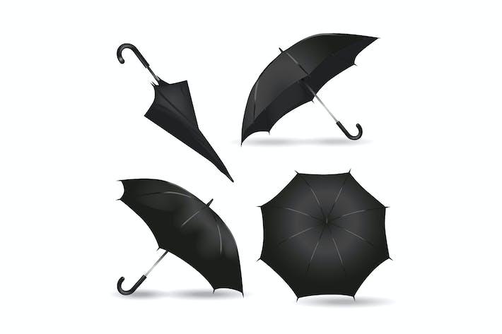 Paraguas de lluvia negro realista Mockups