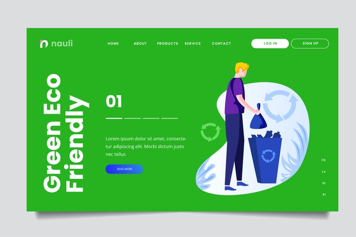 Thumbnail for Green Recycle Web Header PSD and AI Vector
