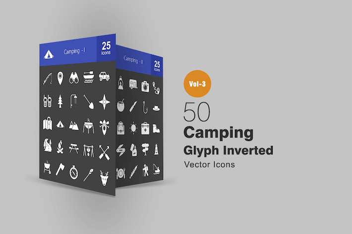 Thumbnail for 50 Camping Glyph Inverted Icons