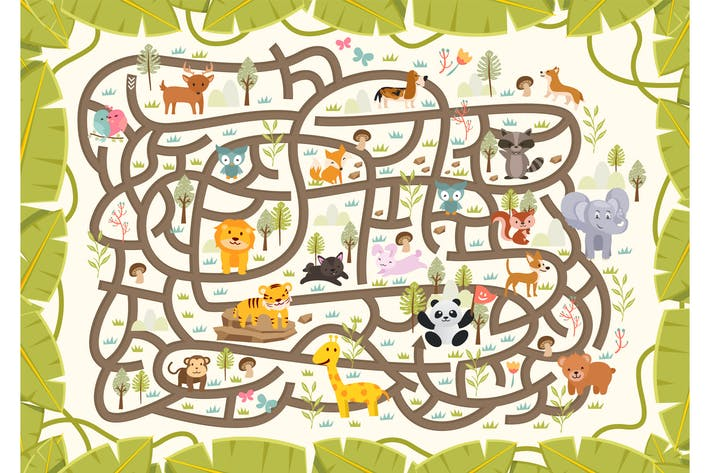 Thumbnail for Wildlife Ecosystem Maze Puzzle Vector Game