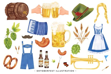 Oktoberfest Clipart Illustrations