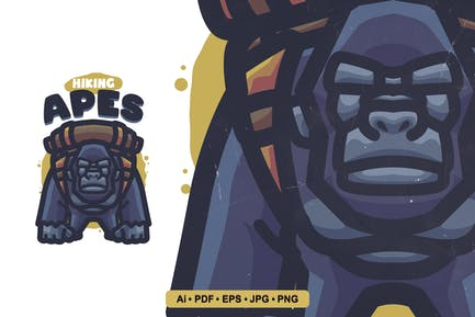 Hiking Apes Cartoon Logo template