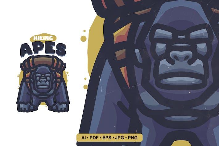 Thumbnail for Hiking Apes Cartoon Logo template