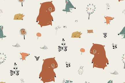 Vector Seamless Pattern with Cute Animals