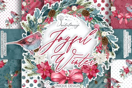 Joyful Winter digital paper pack