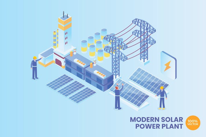 Thumbnail for Isometric Solar Power Plant Technology Vector