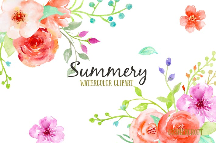 Thumbnail for Watercolor Clip Art Summery