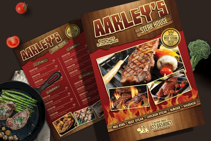 Thumbnail for Steak House Menu Flyer