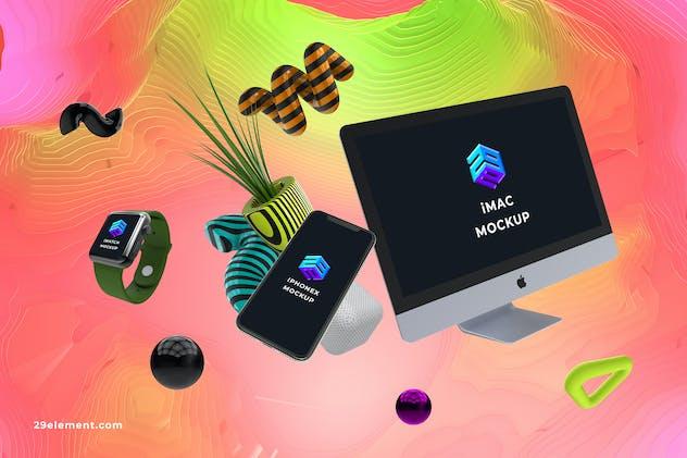 iMac iPhone X iWatch App Mockup - MK