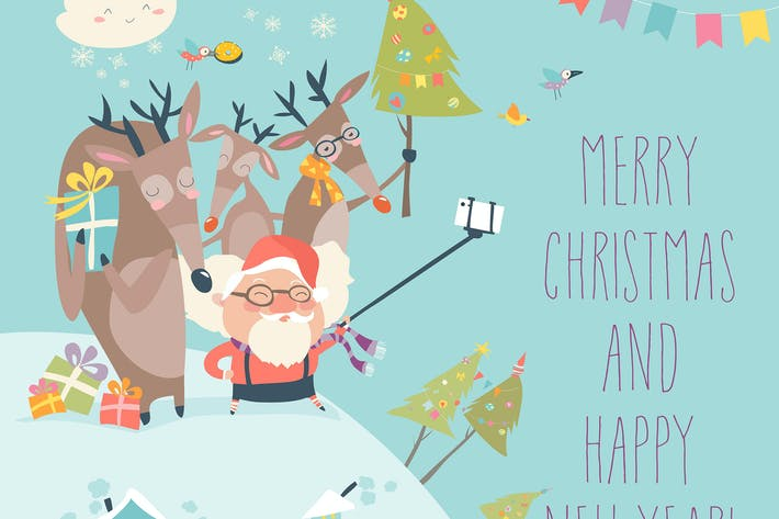 Thumbnail for Santa and reindeers take a selfie. Vector