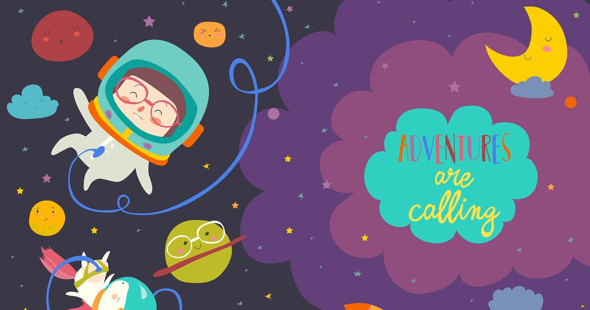 Download Girl astronaut with her unicorn. Vector by masastarus