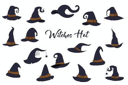 Hexe Halloween-Hut, handgezeichnet